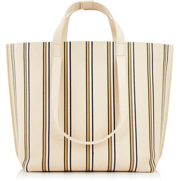 Whistles Hamilton Striped Tote Bag ($100) ❤ liked on Polyvore featuring bags, handbags, tote bags, cream, handbags totes, pink tote purse, stripe tote bag, pink beach tote and tote handbags