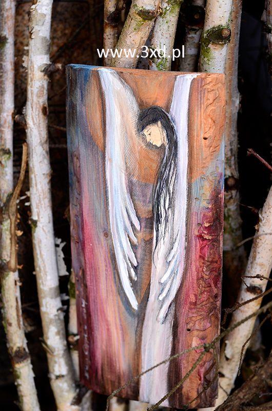 Anioł Harmonii ręcznie malowany na desce - to Anioł dla każdej rodziny