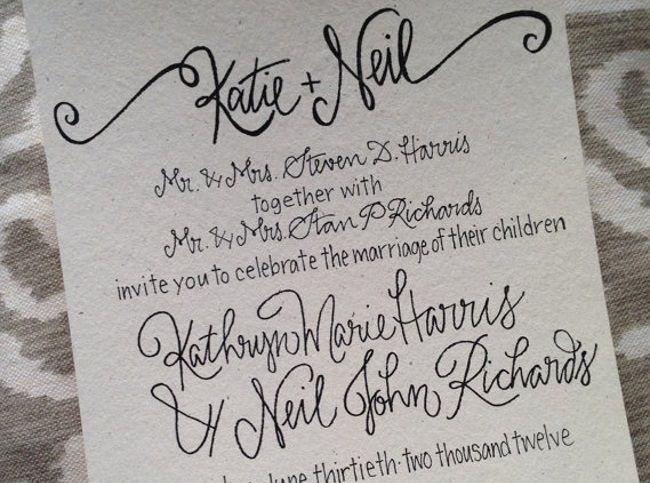 example of calligraphy wedding stationery
