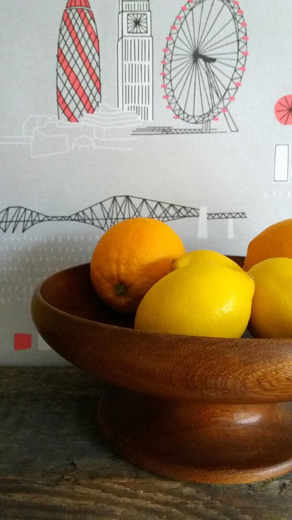 ITEM Vintage wooden fruit bowl * shop counter display * food photo prop * vintage serving bowl * table centrepeice * wooden bowl * wooden dish * Beautiful old pedestal fruit bowl with simple clean lines. This heavy, solid piece has green baize to the bottom of the pedestal to
