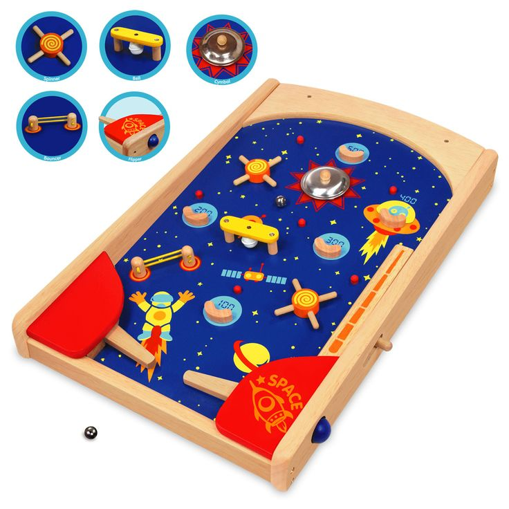 Artiwood Wooden Space Pinball - $90 Measures 51cm x 31cm x 7cm Fire the ball from the space rocket and use the 2 flippers to reach the highest score possible activating the different functions such as the bell, cymbol, spinner and bouncer.  3yrs +