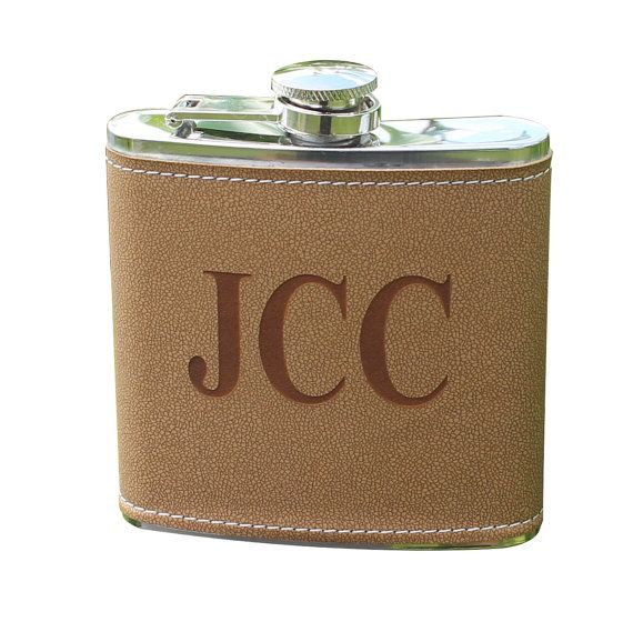 ** This is for one flask. If you are ordering more than 4 please contact me for a discount coupon code. Thanks!  This personalized leather flask makes a perfect wedding party gift for those groomsmen that like to have a good time. Holds 6 oz of your favorite spirit. This is the perfect gift idea for a Groomsmen, Wedding Party, Birthday, or the favorite man in your life.  Personalize in the notes to seller with:  1. Style Choice for the engraving 2. Personalization of the flask  For other…