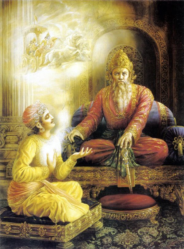 The Bhagavad Gita. {1,1)  why this quotation  summary . 1 ) focuses on mahabhart .when  (dhutarast ) of   sanjay  was vishti  (metting) rest offer .  you are ( padav) good person , religious ,spiritual .divine. we family. so . (dhutarast ) fill have arjun can not like war so more impression in mind arjun. this vishti