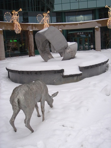 Fountain and deer at Moncton City Hall (winter)