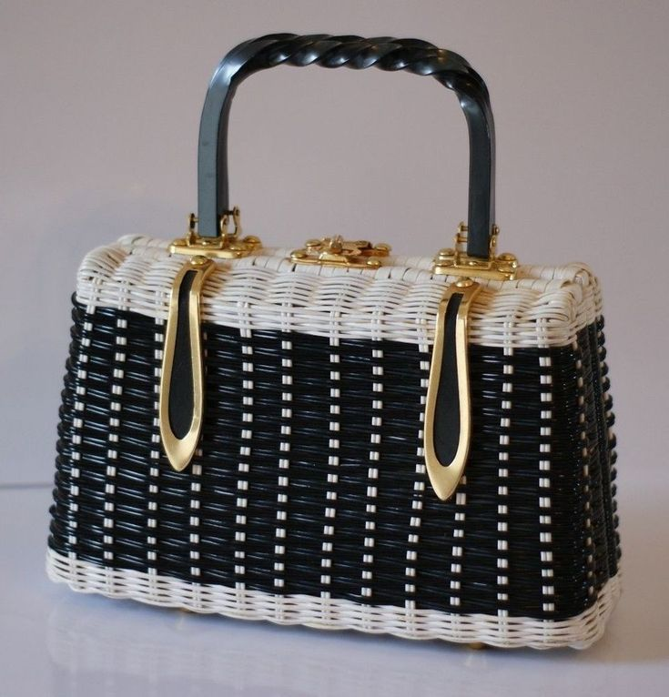 Vintage wicker woven black white handbag purse British Crown Colony Hong Kong  #Purse