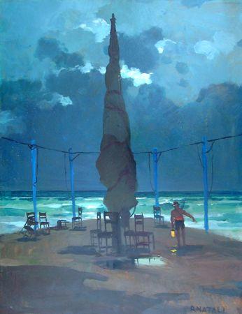"""Renato Natali (Livorno 1883 - 1979), """"Bagni Pancaldi Livorno"""", 1930 olio tavola 45 x 60 cm. Firenze Gallery"""
