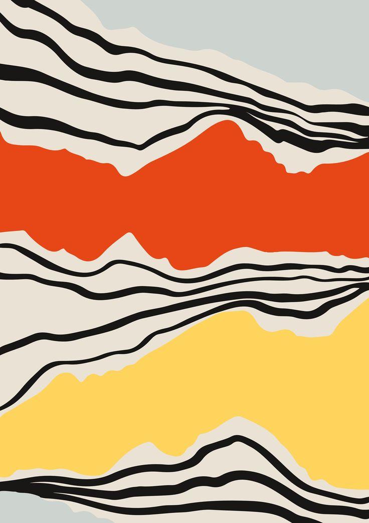 Mid Century Abstract Print, Modernist Abstraction, Line Art, Contemporary Art, L… – Rainer Resch