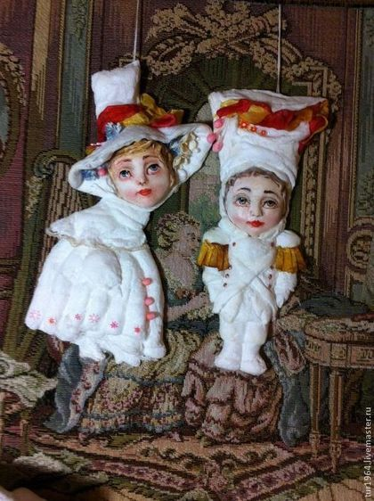 Елочные ватные игрушки( влюбленная парочка) - елочные игрушки,елочные украшения