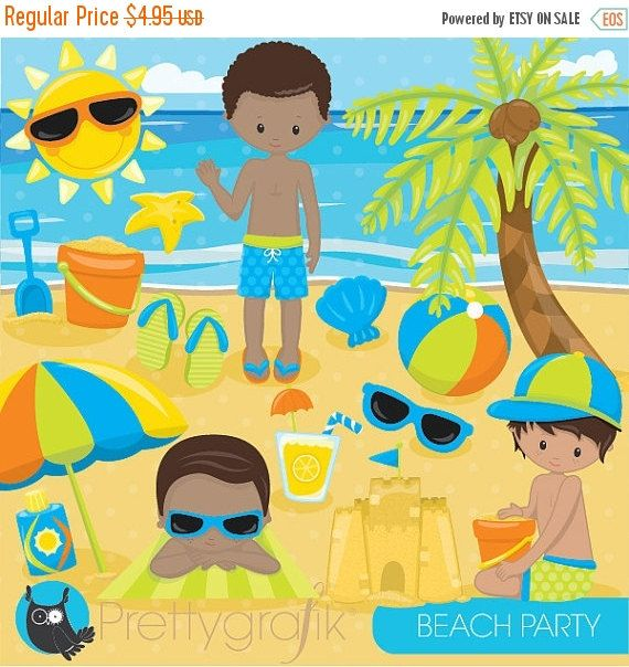 OFF SALE Beach Party Girls Clipart Commercial Use Kids Vector Graphics Vacation Digital Clip Art Images
