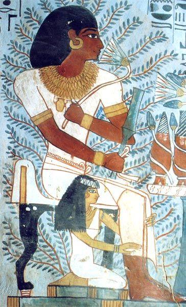 Merit, y Sennefer. retrato matrimonial. Pintura de la tumba de Sennefer (TT 96). Dinastía XVIII. Tebas oeste. Foto: Susana Alegre García