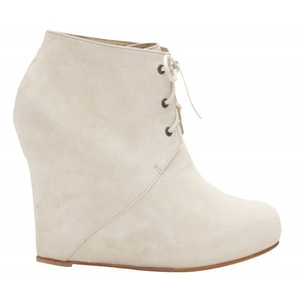 Opening Ceremony W5 Wedge Lace Up Bootie (15,575 INR) ❤ liked on Polyvore featuring shoes, boots, ankle booties, women, lace up wedge booties, short wedge boots, laced up ankle boots, wedge ankle boots and short boots
