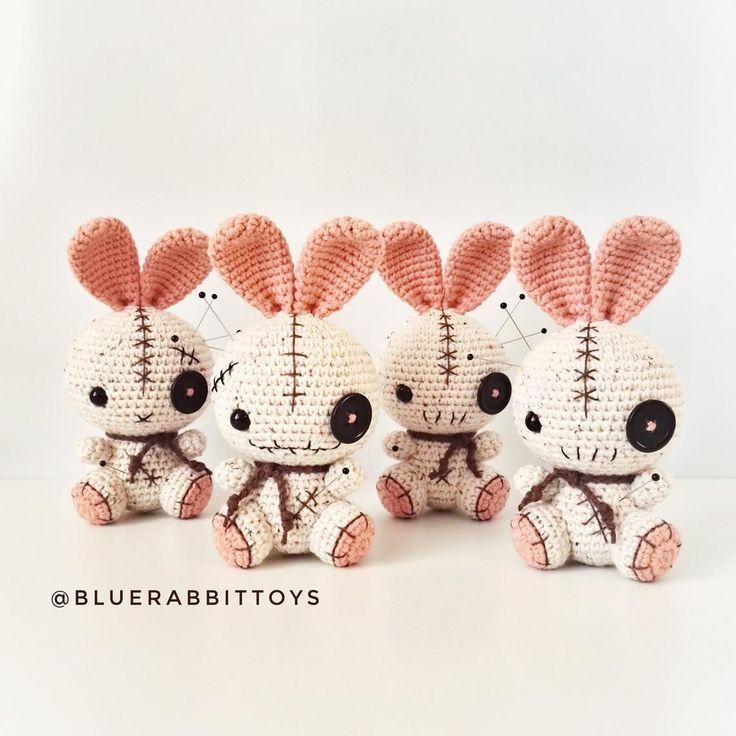 Amigurumi voodoo bunny pattern. Crochet pattern. Languages: English, Danish, German, Norwegian, Spanish, French, Swedish, Portuguese