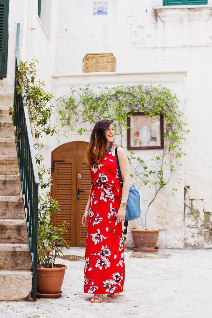 summer holiday outfit bright red river island maxi dress