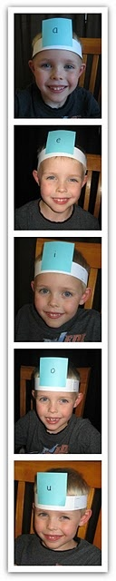 Vowel headbands-what a fun activity for my small groups.  Could easily modify this many different ways!