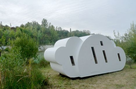 #CloudHouse: French designers Zébra3/Buy-­Sellf have designed a prefabricated holiday home in the shape of a cloud that sits next to a lake in south-west France