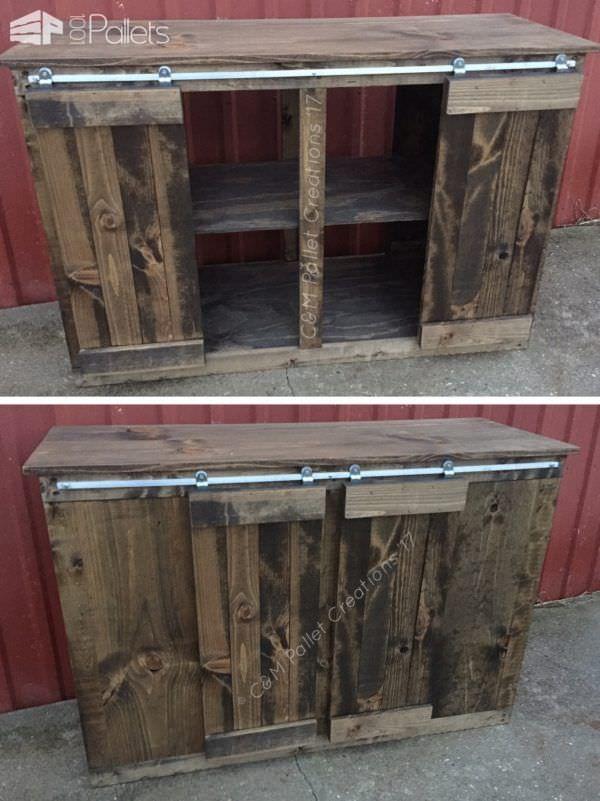 Sliding Barn Door Style Pallet TV Stand Saves Money! Pallet TV Stand & Rack