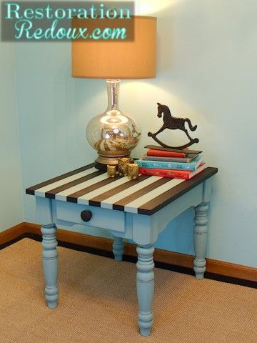 Aqua Striped Chalky Painted Table http://www.restorationredoux.com/?p=3986