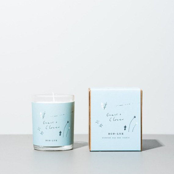 GRASS + CLOVER scented soy wax votive candle, by BON LUX fresh and green as a field of freshly mowed grass in the sunshine, burn this candle to bring the