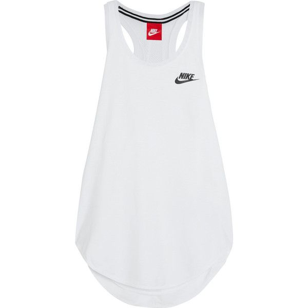 Nike T2 mesh-trimmed modal-blend tank featuring polyvore, women's fashion, clothing, activewear, activewear tops, tops, shirts, sports, nike, blusas, white, racer back shirt, white sport shirt, sports shirts, nike shirts and curved hem shirt