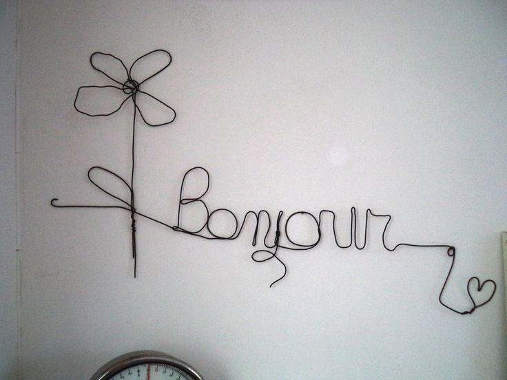 """Scritta """"Bonjour""""  in  fil di ferro,  da parete, ferro cotto nero,decorazione casa country shabby, by Le signore della cascina, 22,00 € su misshobby.com"""