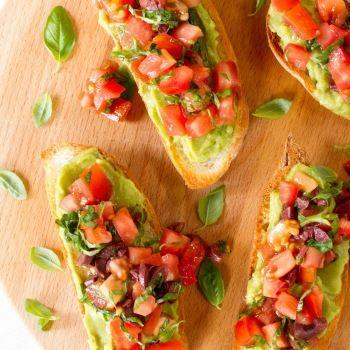 Avocado, Tomato, Olive and Basil Bruschetta