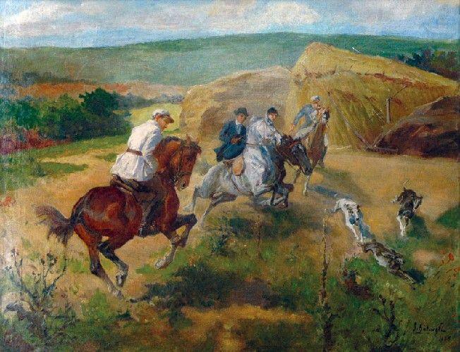 Stanisław Kaczor-Batowski: Polowanie na zające, olej, płótno, 67 x 89 cm; sygn. p.d.: S. Batowski / 1928