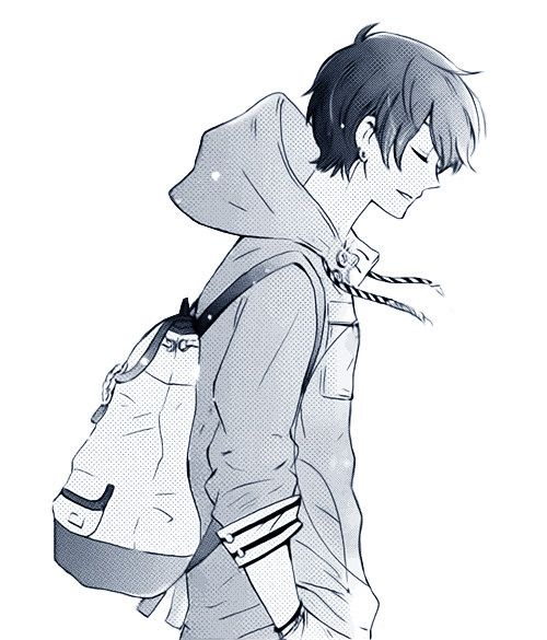 Another black and white image of a male anime/manga character. This one shows a side profile of the boy's face.... The jacket/hoodie is interesting, and since the lines are clean, could prove useful in future drawing endeavors. :)