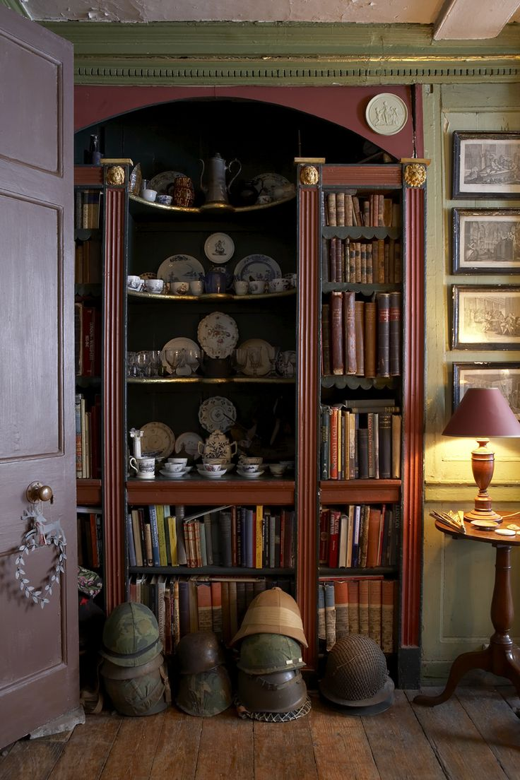 Wonderful antique bookcase in 18th century Spitalfields home of historian Dan Cruikshank