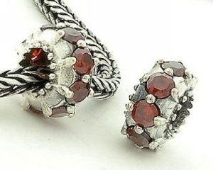 1pc 925 Sterling Silver Charms Ruby Crystal Beads Compatible with Pandora Chamilia Kay Troll European Bracelets