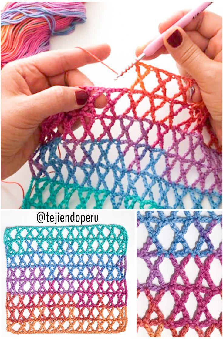 Punto K tejido a #crochet Crochet K stitch
