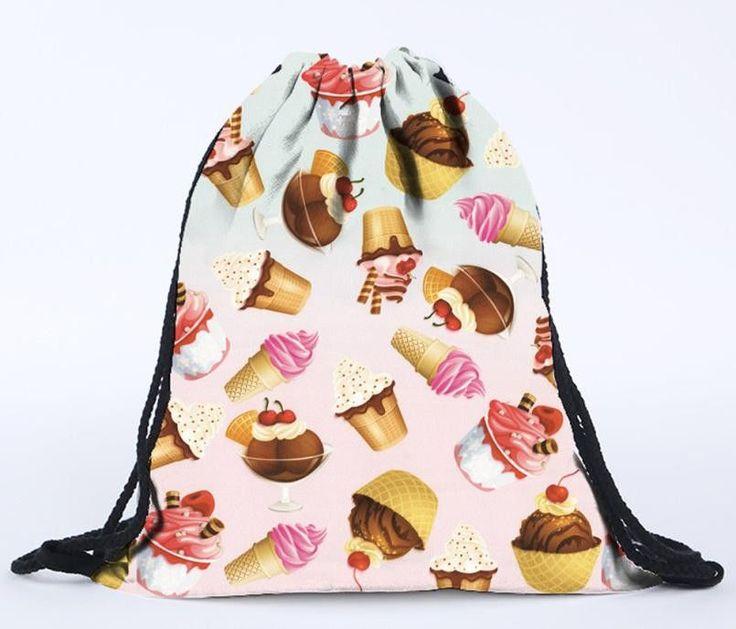 Womens Floral Canvas Backpack Fashion Drawstring Backpack Fashion 3D Printing Travel Backpack Softback Harajuku drawstring Bag