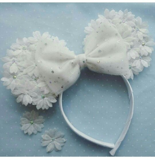 Custom made floral minnie mouse ears with sparkle bow. Flowers have diamante detail in the middle - so pretty! wwww.tutufactory.co.uk