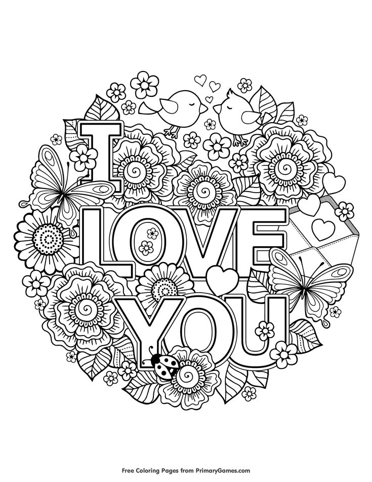 Valentines Day Coloring Page I Love You