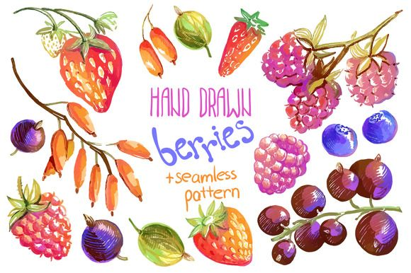 Vector hand drawn oil berries by Dinkoobraz on Creative Market #berries #raspberry #strawberry #blueberry, #currant	#barberry #bilberry	#wild_strawberry #oil #gouache #hand_drawn