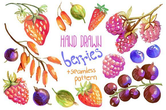 Vector hand drawn oil berries by Dinkoobraz on Creative Market #berries #raspberry #strawberry #blueberry, #currant#barberry #bilberry#wild_strawberry #oil #gouache #hand_drawn