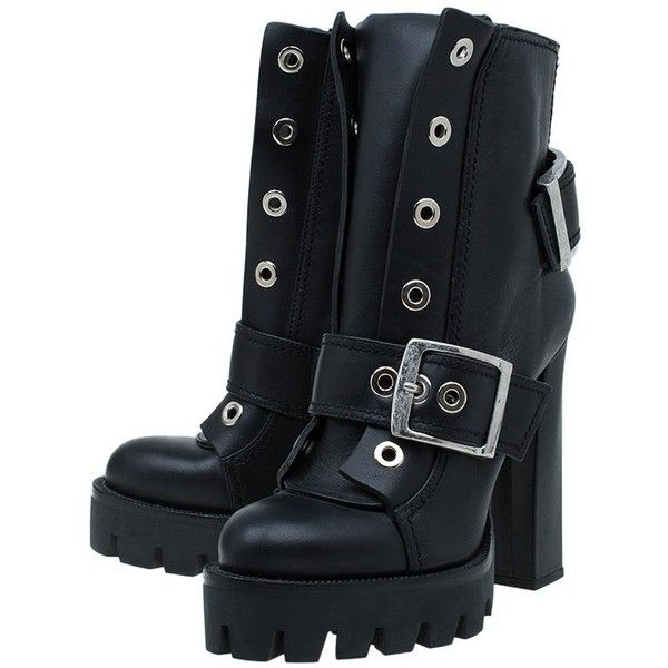 Alexander McQueen Black Leather Buckled Combat Boots Size 40 ❤ liked on Polyvore featuring shoes, boots, leather buckle boots, combat boots, military boots, army boots and black shoes