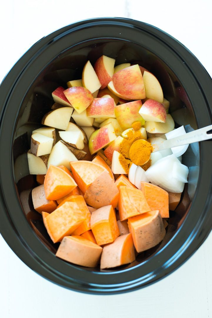 Slow Cooker Sweet Potato, Apple & Turmeric Soup is a simple chop and drop recipe that yields creamy, nourishing results. It's a hit with the entire family, is gluten-free, dairy-free, vegan, paleo and Whole30 friendly!