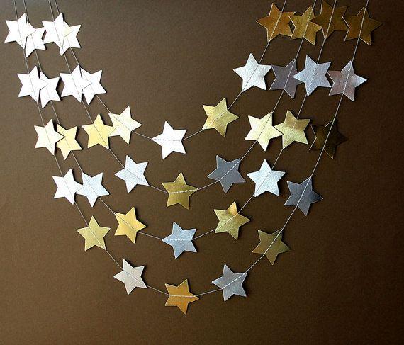 Guirnalda oro y plata, Guirnalda estrellas oro plata, Guirnalda dorada y plateada,Boda oro y plata, Decoración oro,plata, Decoración Navidad