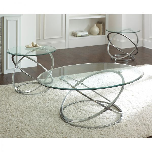 Steve Silver Orion Oval Chrome And Glass Coffee Table Set   Coffee Table  Sets At Hayneedle