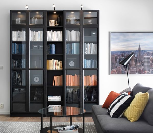 billy oxberg bookcase black brown ikea living roomliving - Living Room Decor Ikea