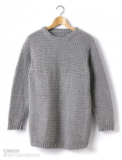Ravelry: Adult Crochet Crew Neck Pullover by Caron Design Team