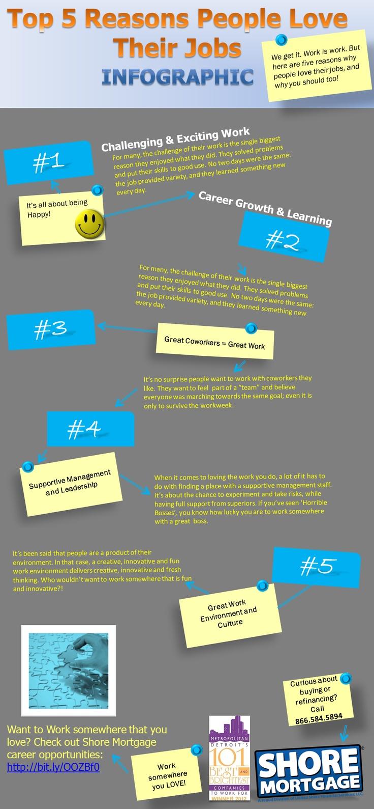 Job Infographics: Top 5 reasons people love their jobs. #careers