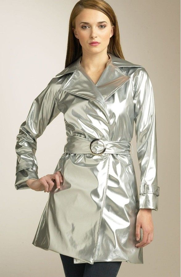 Double breasted silver patent trench coat
