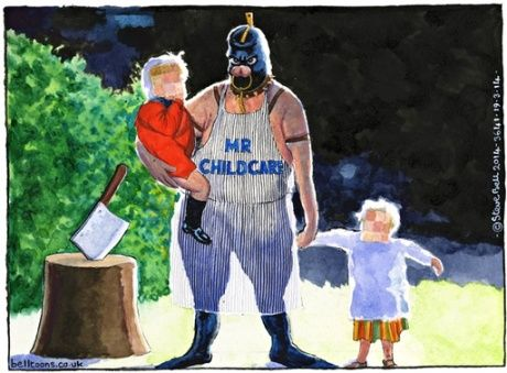 18/03/14 Steve Bell thinks the childcare measures announced yesterday are coverups for cuts