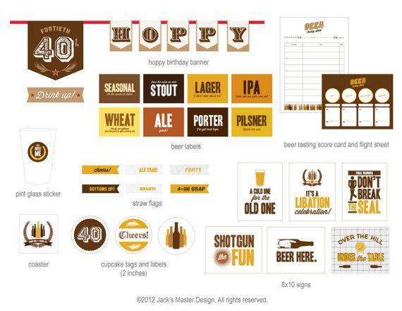 40th Beer Tasting Birthday Printables by JacksMaster on Etsy