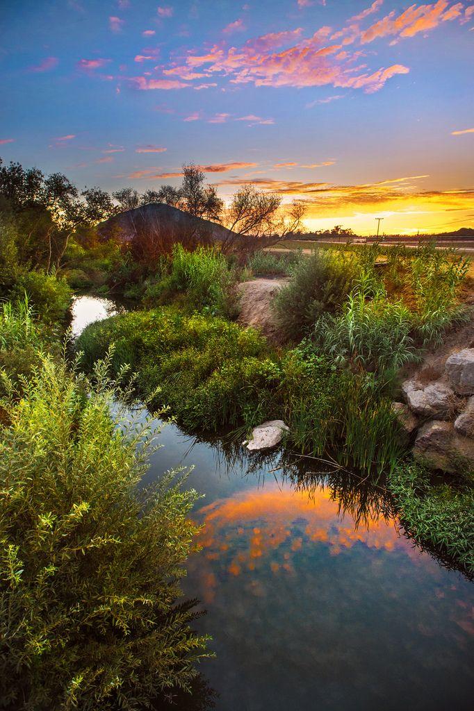 Conejo Creek sunset (California) by John Mueller