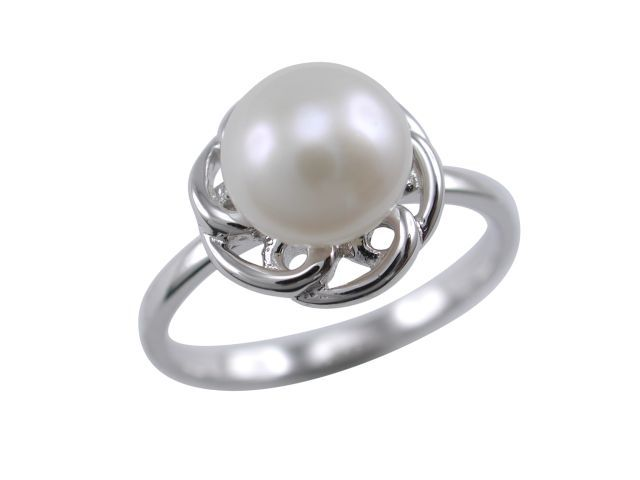 Sterling Silver 7mm White Freshwater Pearl 11mm Ring