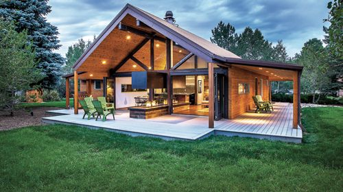 exposed cedar ceilings and steel beams turn an old plywood rambler into dream mountain view home