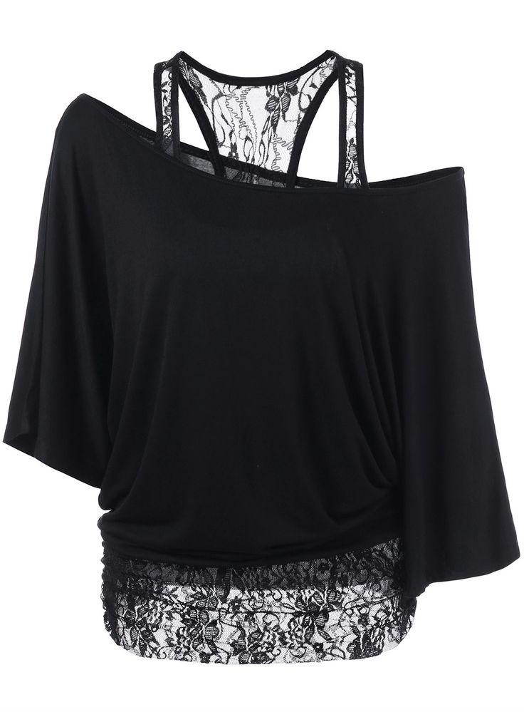 $14.93 Skew Collar Lace Trim T-Shirt - Black