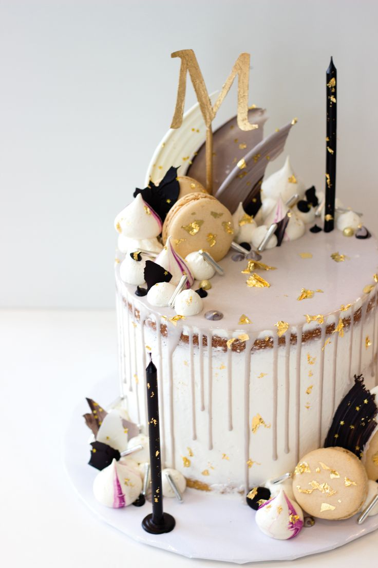 Buttercream drip cake with white chocolate brush strokes ...